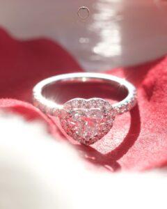 ZCOVA GIA heart shape diamond ring with halo pave