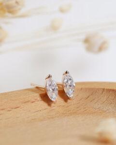 ZCOVA GIA marquise shape diamond stud rose gold earring