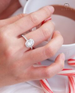 ZCOVA GIA oval shape diamond halo pave ring
