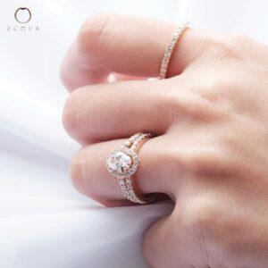 ZCOVA GIA oval shape diamond halo pave ring with eternity band