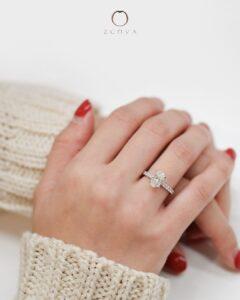 ZCOVA GIA oval shape diamond pave ring