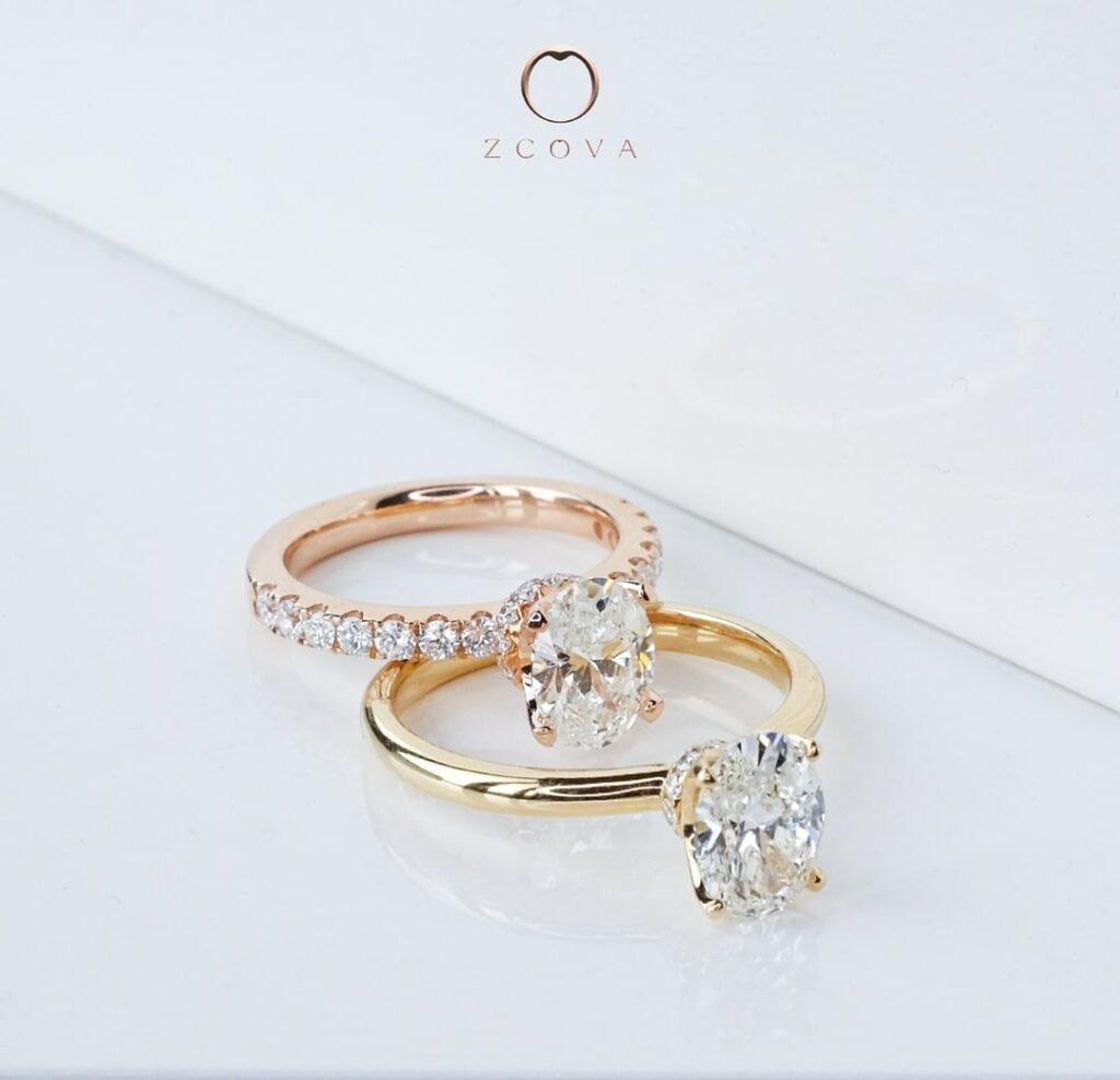ZCOVA GIA oval shape diamond rose gold and yellow gold ring