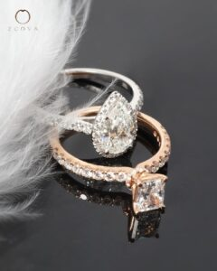 ZCOVA GIA pear shape diamond ring and radiant shape diamond ring in rose gold malaysia