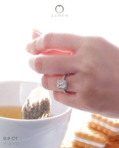 ZCOVA GIA radiant shape diamond halo pave ring malaysia