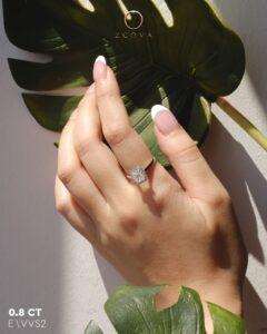 ZCOVA GIA radiant shape diamond halo ring malaysia