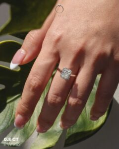 ZCOVA GIA radiant shape diamond halo ring on hand malaysia