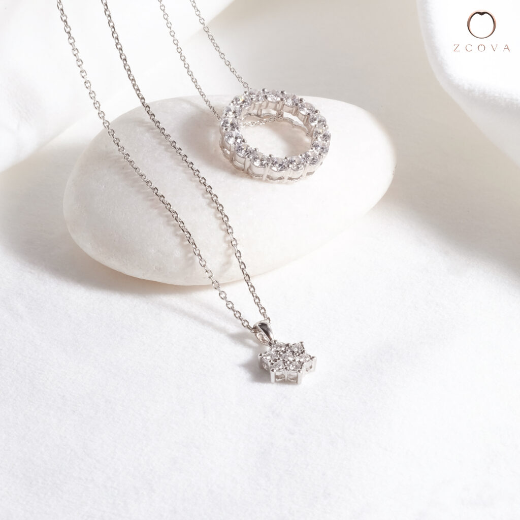 Diamond Necklace in 18K Rose Gold, White Gold, Yellow Gold Malaysia