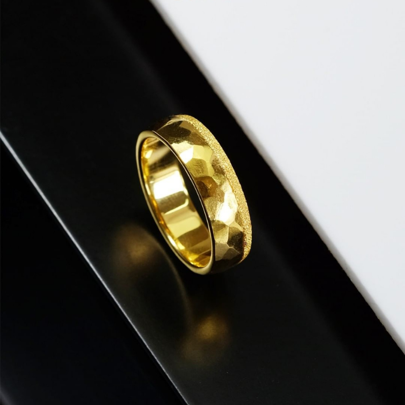 Custom Made 24K Yellow Gold Hammered Texture Ring With Diamond Dust