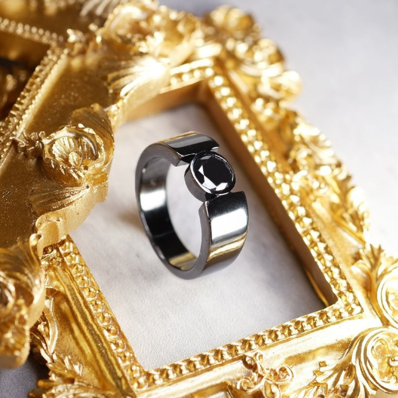 Custom Made Black Plated Gold With Black Diamond In Bezel Setting