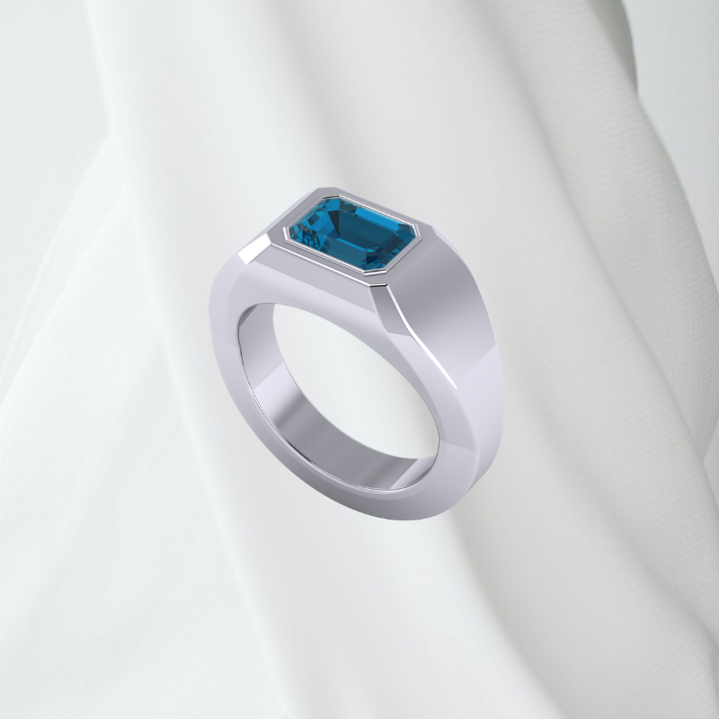 Customized Galahat Signet Ring With Blue Topaz