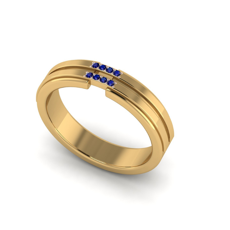 Customized 18K Yellow Gold Stria Double Band With Blue Sapphires