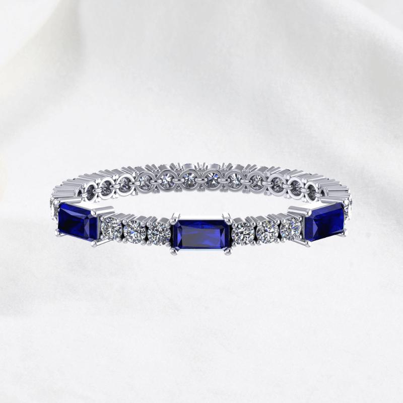 Custom design Tennis Bracelet with Blue Sapphire Gemstone and GIA Diamond Online Malaysia