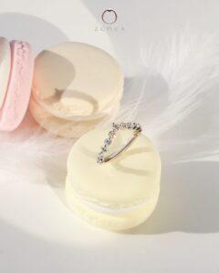 Cincin Tunang Emas putih 18K diamond eternity band ZCOVA