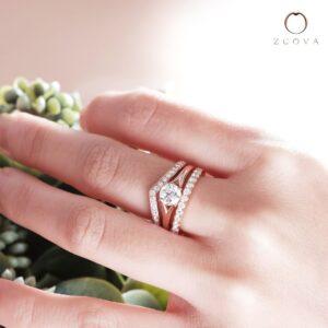 Cincin Tunang Emas ros eternity band ZCOVA dengan cincin nikah berlian