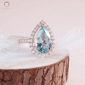 Cincin batu permata aquamarine dalam emas ros ZCOVA