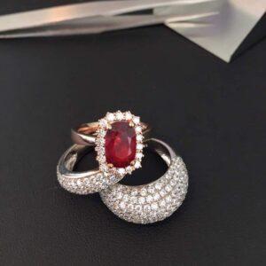 Cincin batu permata delima dengan berlian ZCOVA