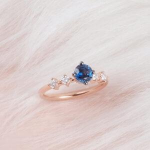 Cincin batu permata nilam biru dengan berlian dalam emas ros ZCOVA
