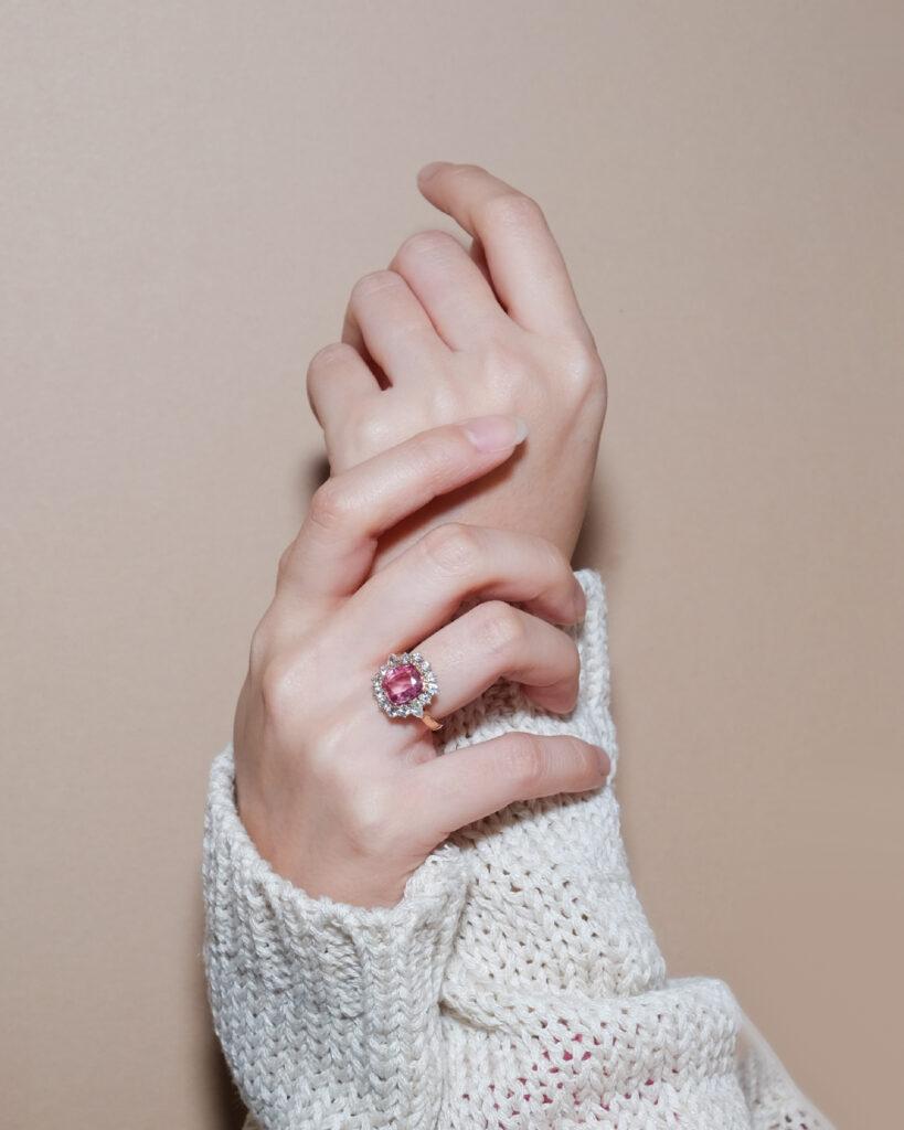 Padparadscha Sapphire Gemstone Halo Ring ZCOVA