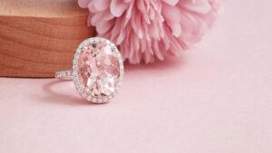 Cincin emas putih dengan batu permata morganite merah jambu ZCOVA