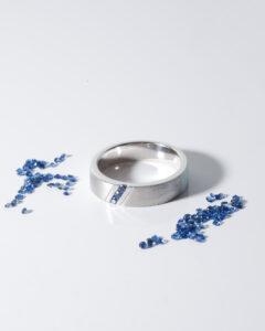 Cincin lelaki platinum batu permata nilam biru