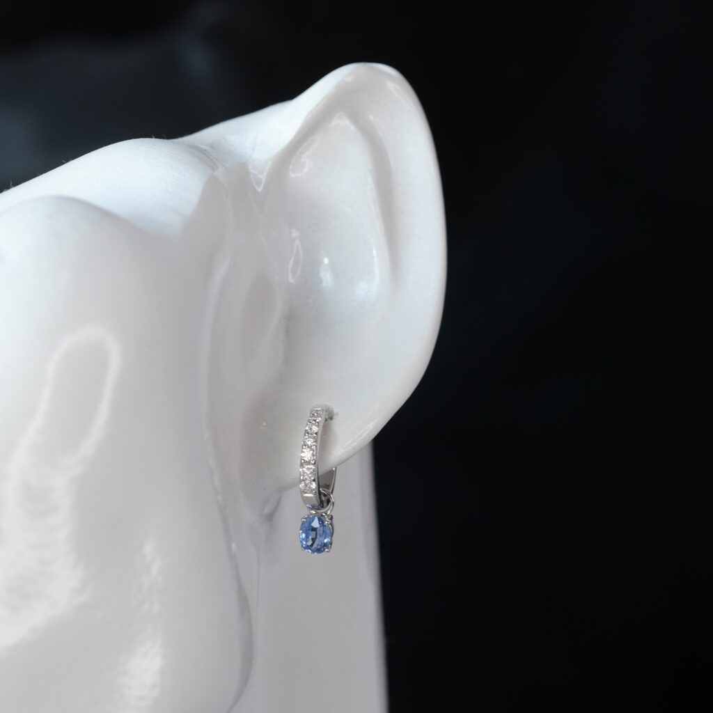 Blue Sapphire Earring Design with Pave Diamonds Malaysia ICL Certificate