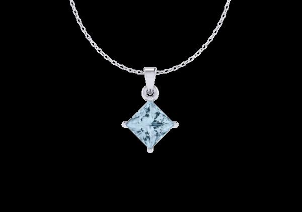 Princess cut Aquamarine gemstone pendant necklace