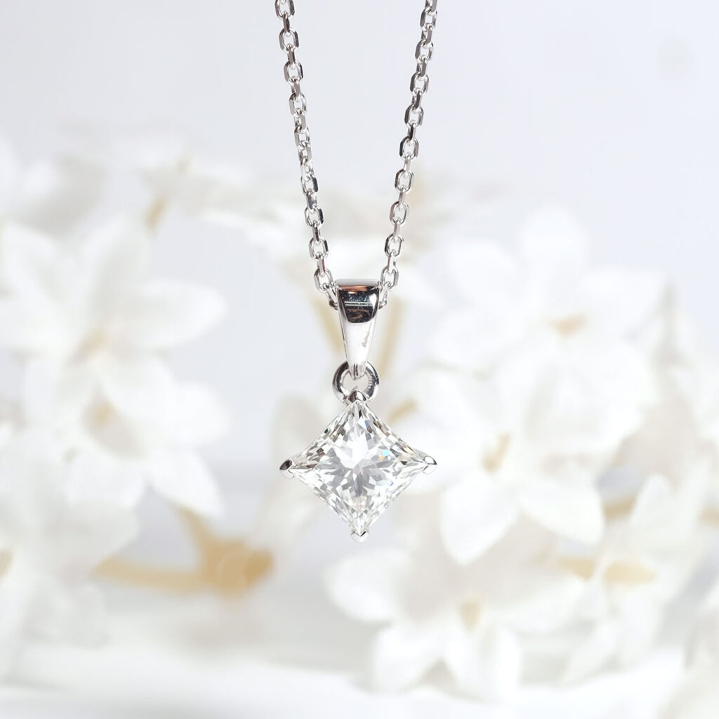 Princess Cut Diamond Necklace in 18K Gold Malaysia