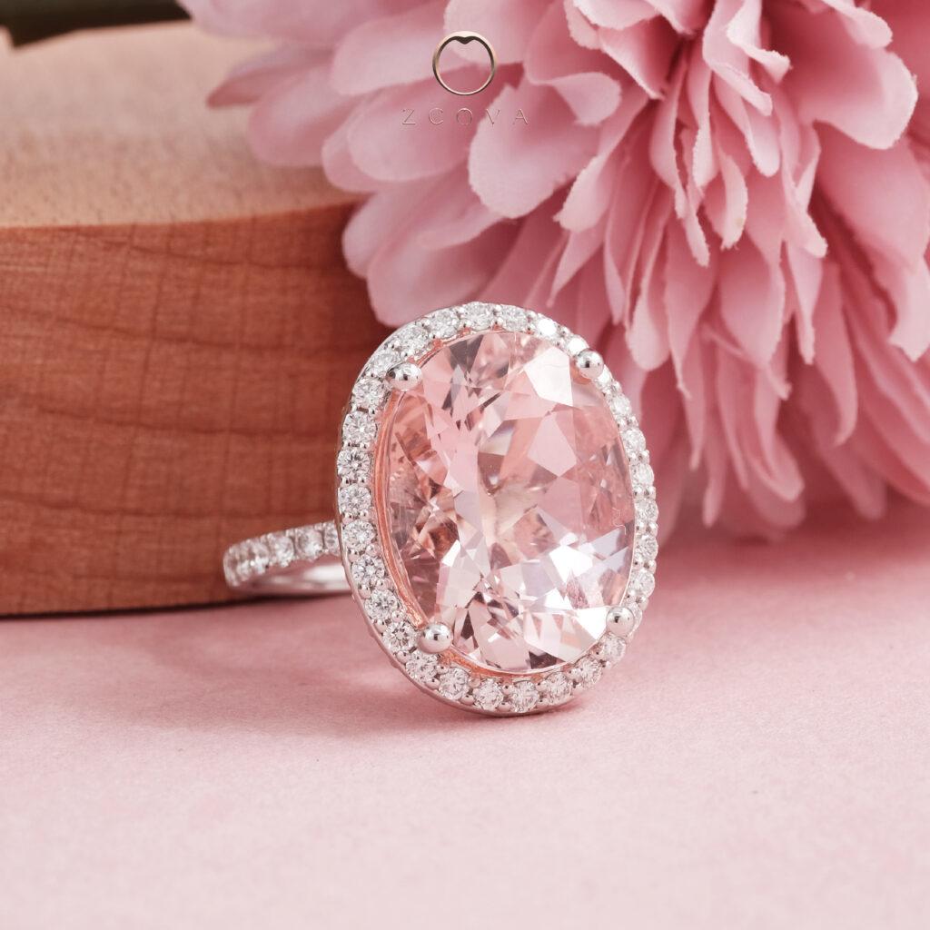 Cincin Emas Batu Permata Morganit Merah Jambu ZCOVA