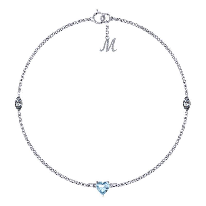 Rantai tangan batu permata aquamarine biru dengan berlian dan ukir nama