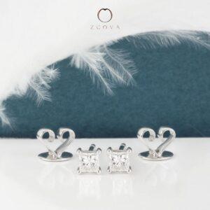 anting anting subang berlian princess cut bersijil GIA emas putih ZCOVA