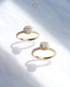 cincin nikah halo pave emas kuning ZCOVA