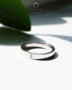 cincin nikah platinum lelaki dengan berlian baguette kecil ZCOVA