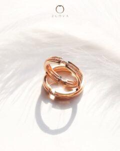 cincin nikah sepasang emas ros dengan cincin platinum untuk lelaki ZCOVA