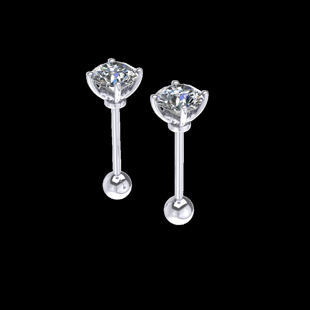 18K White Gold Round GIA diamond stud earring