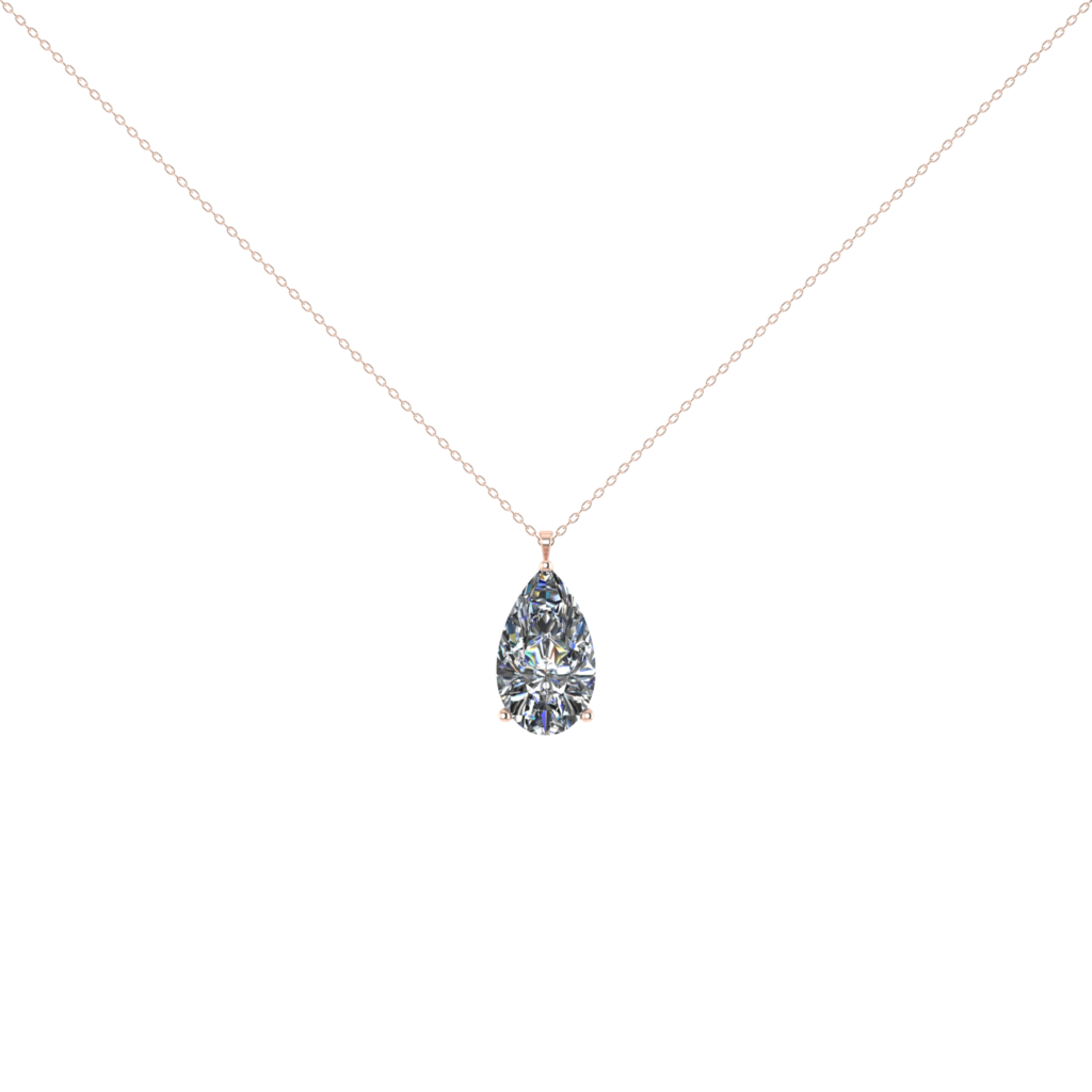 solitaire GIA pear shaped diamond pendant necklace
