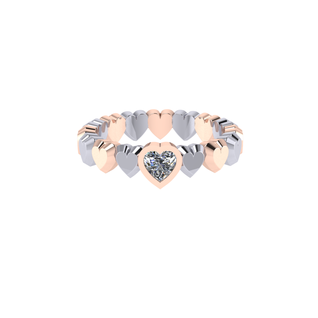 heart shaped diamond eternity band in mixed rose and white gold
