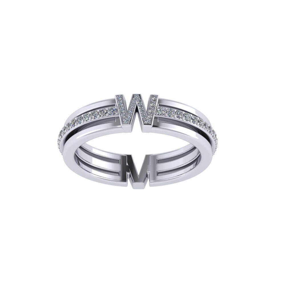 Customised Name Letter Diamond Wedding Band