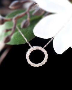 rantai leher berlian emas putih 750 ZCOVA