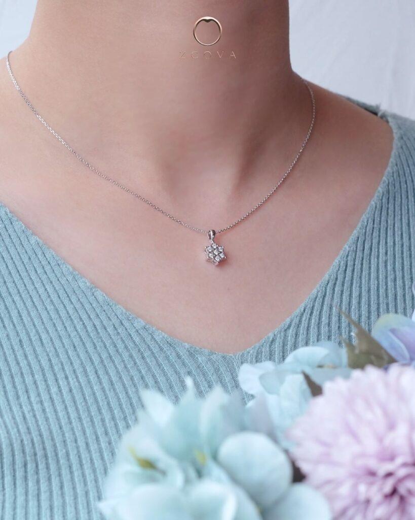 rantai leher emas berlian bercorak bunga ZCOVA