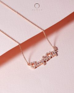 rantai leher ukir nama berlian emas ros ZCOVA