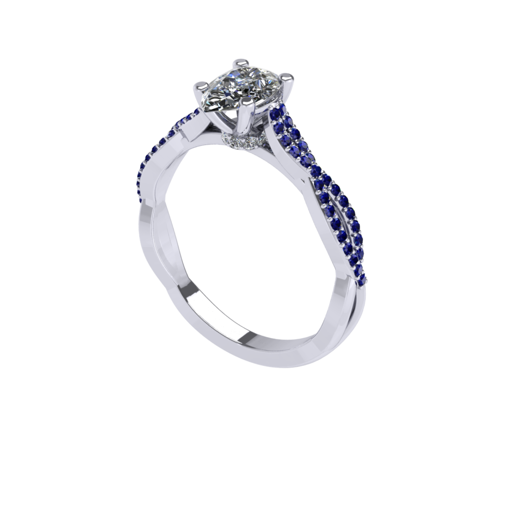 pear shaped diamond engagement ring with blue sapphire gemstone twisted band