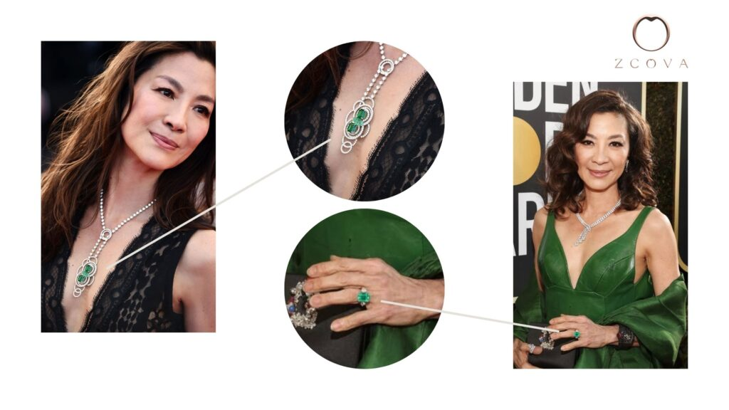 Michelle Yeoh Crazy Rich Asian 2.84CT Emerald Gemstone Ring and Necklace