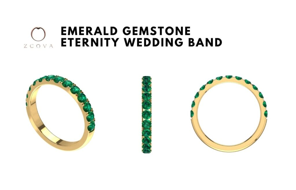 Emerald Gemstone Eternity Wedding Band