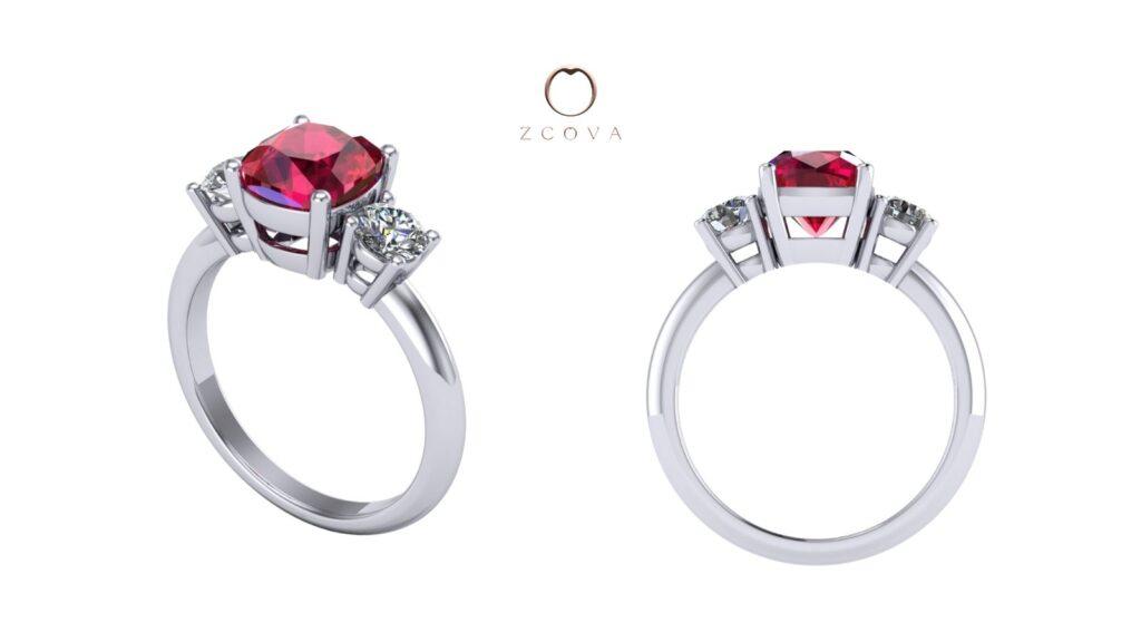 three stone ruby gemstone and side diamond engagement ring