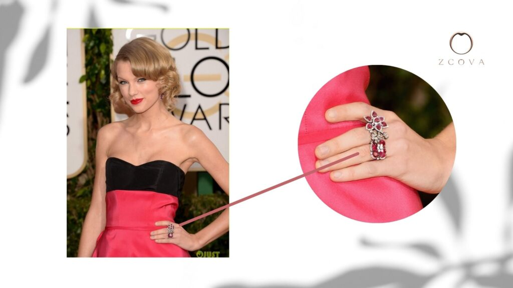 Taylor Swift wearing a Ruby and Diamond ring