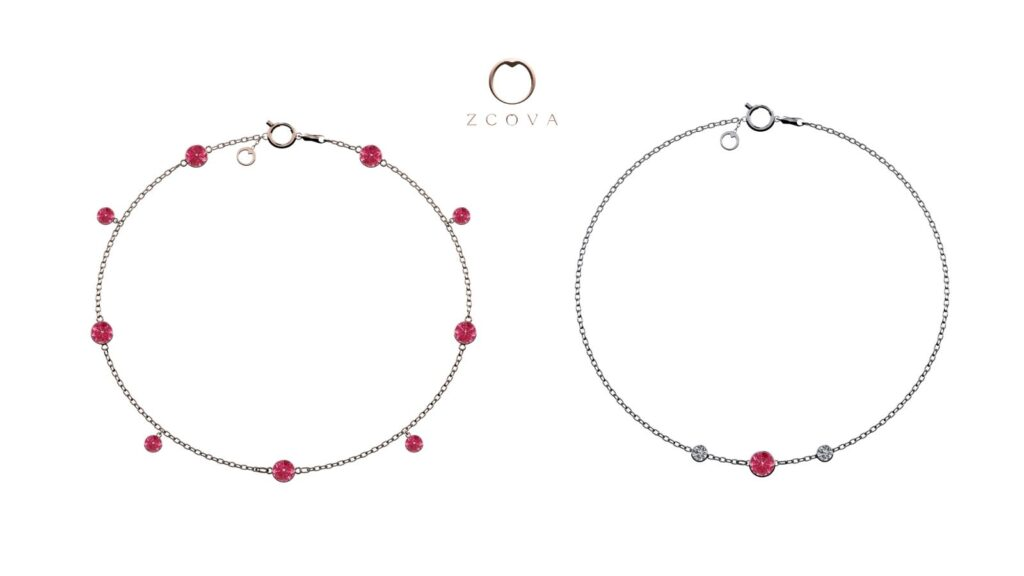 ruby gemstone bracelet and ruby with side diamond bracelet