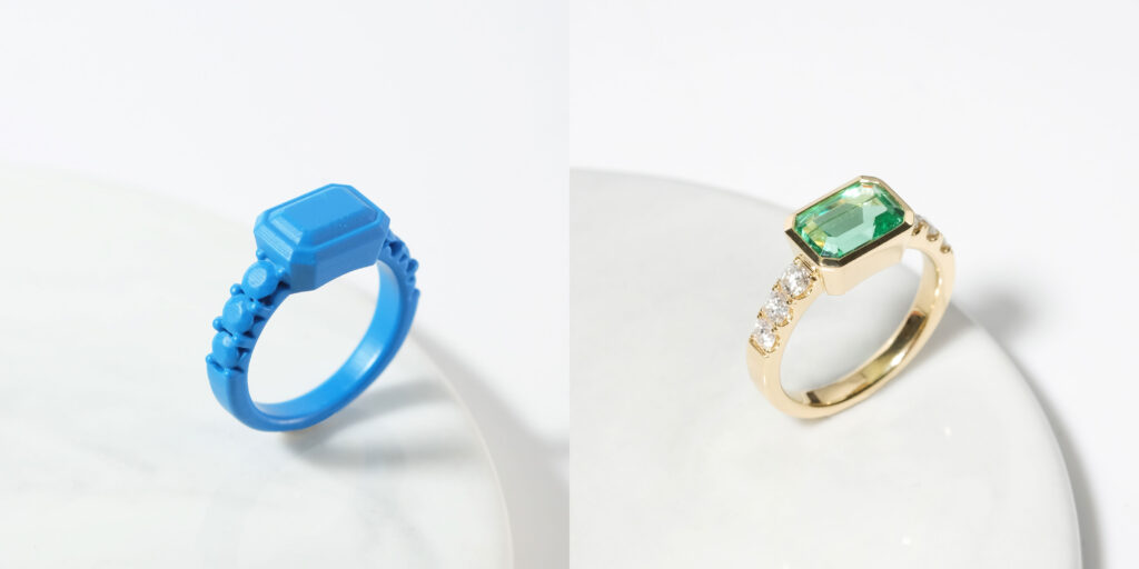 3D print ring and Emerald Pave 18K Yellow gold engagement ring