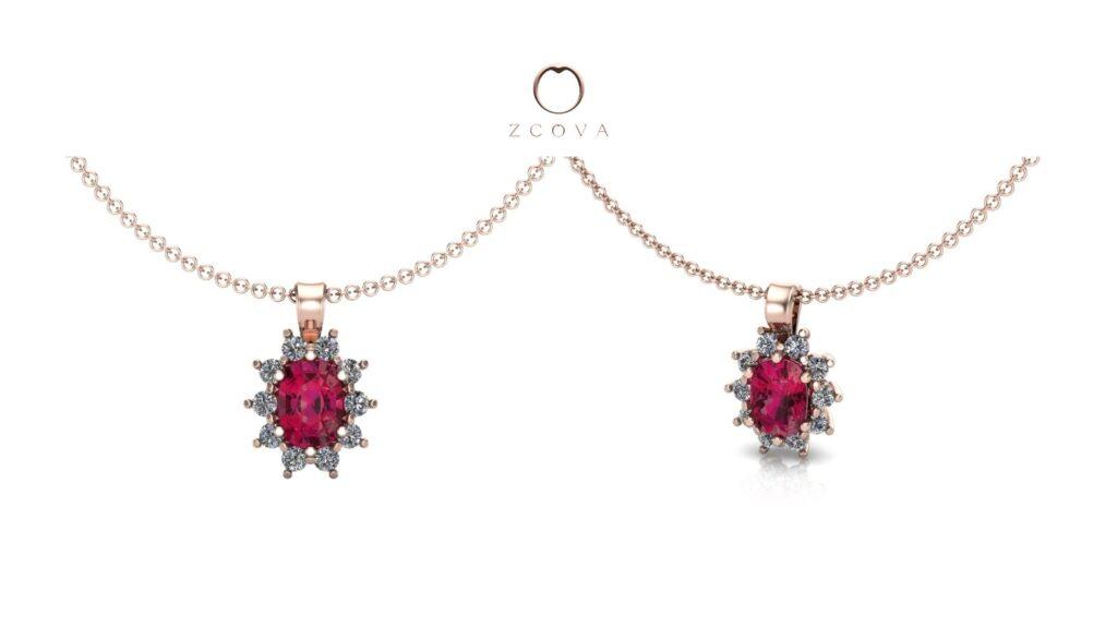 oval shape ruby gemstone with side diamonds pendant necklace
