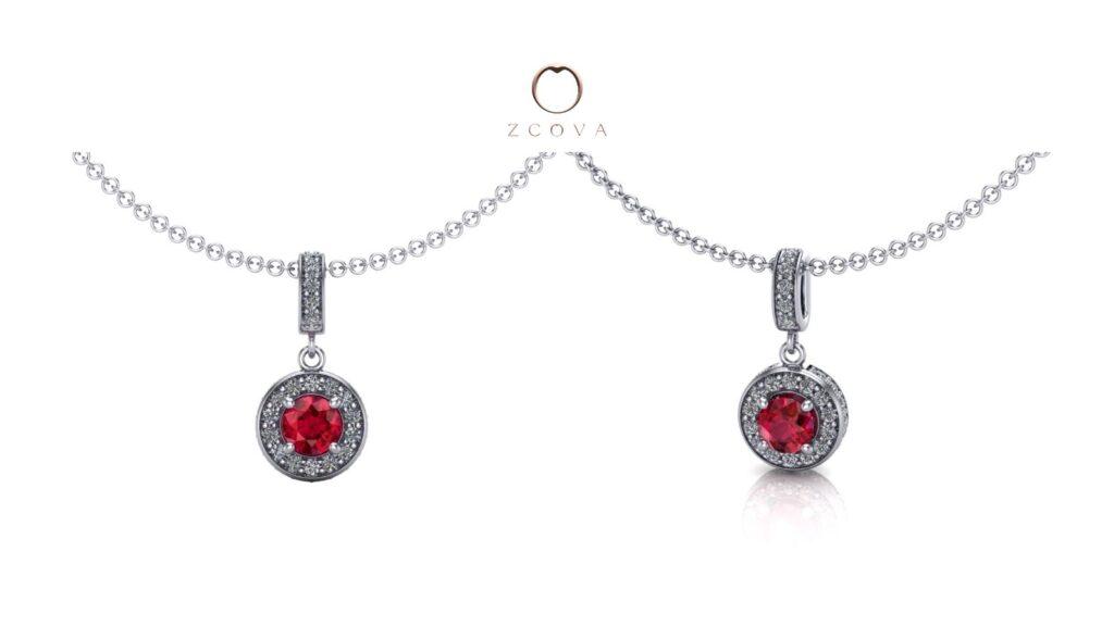 Ruby gemstone with halo diamonds pendant necklace