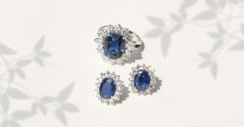 Blue Sapphire Gemstone Diamond Jewellery, Earrings and Ring